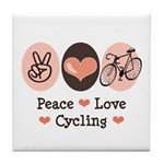 Bicycle Peace Love Cycling Tile Coaster