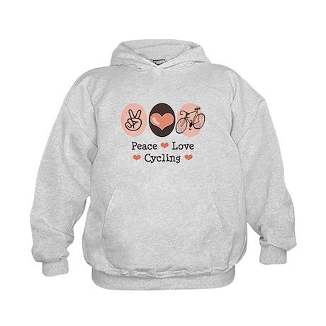Bicycle Peace Love Cycling Kids Hoodie