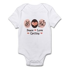 Bicycle Peace Love Cycling Infant Bodysuit