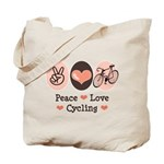 Bicycle Peace Love Cycling Tote Bag