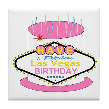 Las Vegas Birthday Cake Tile Coaster