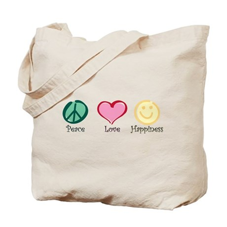 Peace Love Happiness Tote Bag