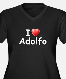 I Love Adolfo (W) Women's Plus Size V-Neck Dark T-