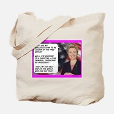 """Hillary's Qualifications"" Tote Bag"