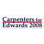 Carpenters for Edwards bumper sticker