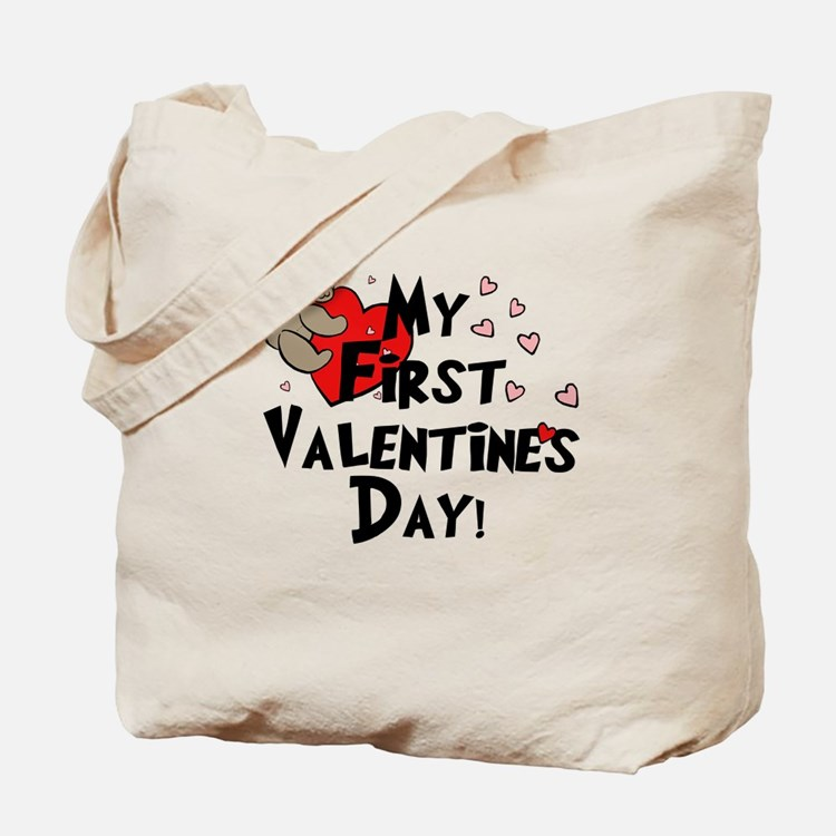 First Valentine's Bear Heart Tote Bag