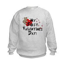 First Valentine's Bear Heart Sweatshirt