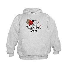 First Valentine's Bear Heart Hoodie