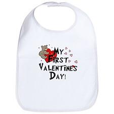 First Valentine's Bear Heart Bib