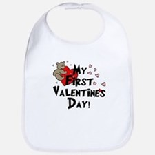 First Valentine's Bear Heart Bib