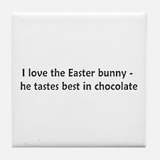 Love Chocolate Bunnies Tile Coaster