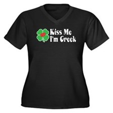 Kiss Me I'm Greek Women's Plus Size V-Neck Dark T-