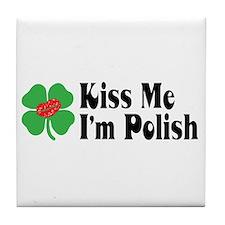 Kiss Me I'm Polish Tile Coaster