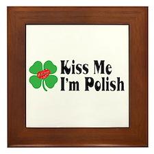 Kiss Me I'm Polish Framed Tile