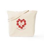 Spanish Rose Wreath on White Tote Bag