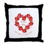 Spanish Rose Wreath on White Throw Pillow