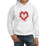 Spanish Rose Wreath on White Hooded Sweatshirt