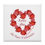 Spanish Rose Wreath on White Tile Coaster