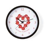 Spanish Rose Wreath on White Wall Clock