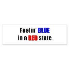 Feelin' Blue in a Red State Bumper Car Sticker