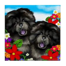 BLACK CHOW CHOW GARDEN Tile Coaster