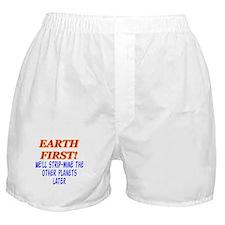 Earth First! We'll Strip-Min Boxer Shorts