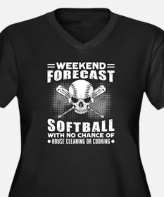 Cute Softball Women's Plus Size V-Neck Dark T-Shirt