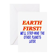Earth First! We'll Strip-Min Greeting Cards (Pk o