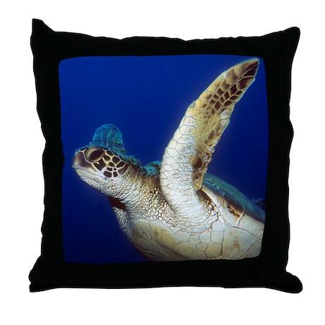 Flying Sea Turtle Throw Pillow