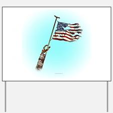 Disabled Veteran Waving Flag Yard Sign