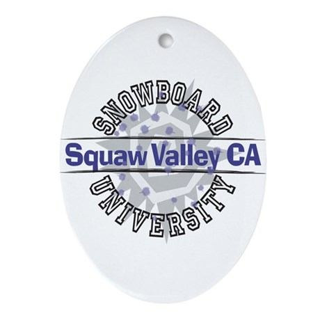 Snowboard Squaw Valley CA Oval Ornament