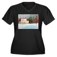 Winter Scene Women's Plus Size V-Neck Dark T-Shirt
