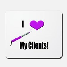 I Love (Heart) My Clients (Pu Mousepad