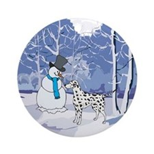 Snowman & Dalmatian Holiday Ornament (Round)