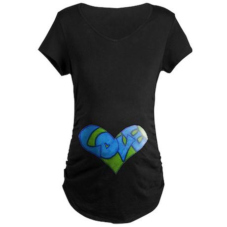 Heart Full of Love Maternity Dark T-Shirt
