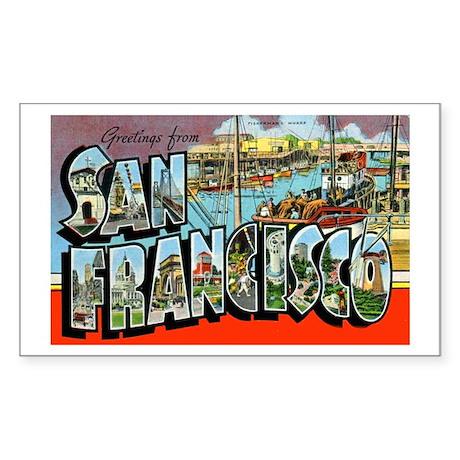 San Francisco California Greetings Sticker (Rectan