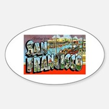 San Francisco California Greetings Oval Decal