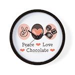 Peace Love Chocolate Wall Clock