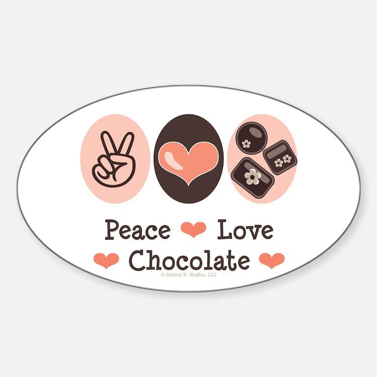 Peace Love Chocolate Oval Decal