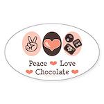 Peace Love Chocolate Oval Sticker