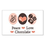 Peace Love Chocolate Rectangle Sticker