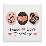 Peace Love Chocolate Tile Coaster