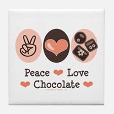 Peace Love Chocolate Tile Coaster