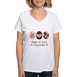 Peace Love Chocolate Women's V-Neck T-Shirt