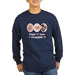 Peace Love Chocolate Long Sleeve Dark T-Shirt