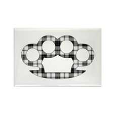 Plaid Brass Knuckles Rectangle Magnet
