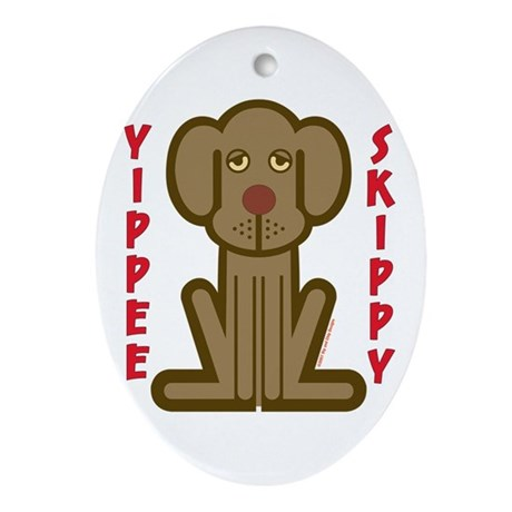 Yippee Dog Oval Ornament