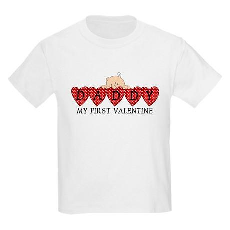 Daddy First Valentine Kids Light T-Shirt