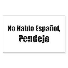 No Hablo Espanol Rectangle Decal