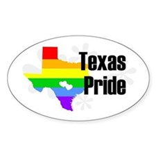 Texas Rainbow Pride Oval Decal